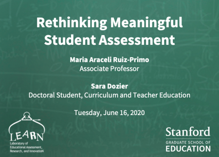 """Opening slide for the presentation """"Rethinking meaningful student assessment"""" with Maria Araceli Ruiz-Primo and Sara Dozier"""