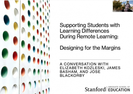 """Opening slide for the presentation """"Supporting students with learning differences during remote learning"""""""