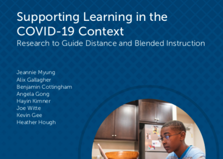 Policy report cover for supporting learning in the COVID-19 context
