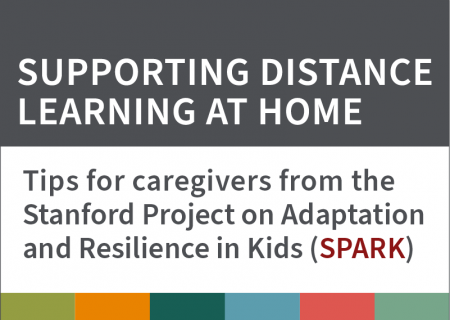 """A graphic that reads, """"Supporting distance learning at home: Tips for caregivers from the Stanford Project on Adaptation and Resilience in Kids (SPARK)"""""""