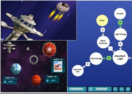 Screen images from the Teachable Agents game that show spaceships and planets
