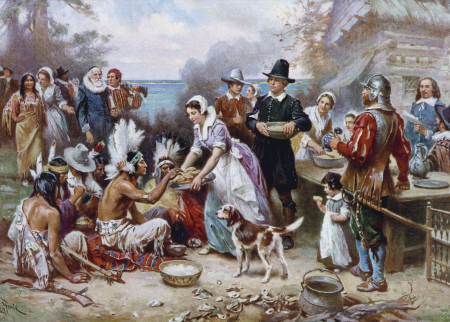 Image of the First Thanksgiving painting