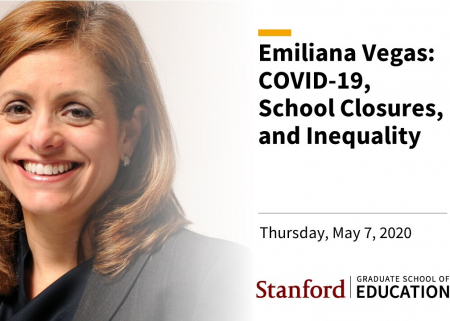Title slide from the webinar Emiliana Vegas: COVID-19, school closures, and inequality