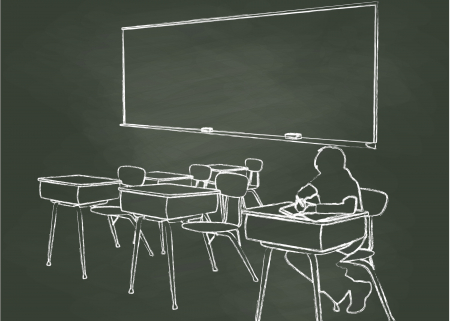 Photo of child in classroom with empty desks