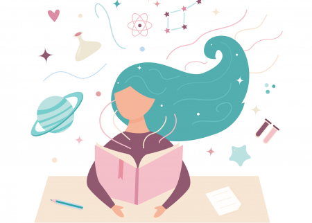illustration of a girl at a desk with a book and science symbols in the background