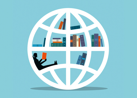 illustration of globe with books and a girl reading