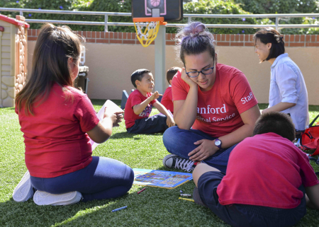 Preschool Counts students to engage in a spatial relations activity at St. Elizabeth Seton School in Palo Alto.