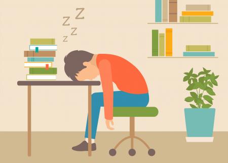 illustration of child asleep at his desk