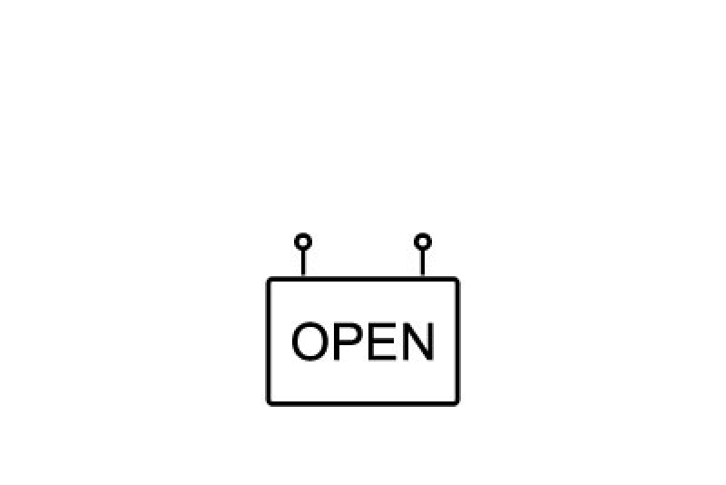 Icon with a sign that says Open
