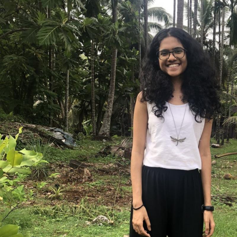 Akshatha Kamath near her home in India