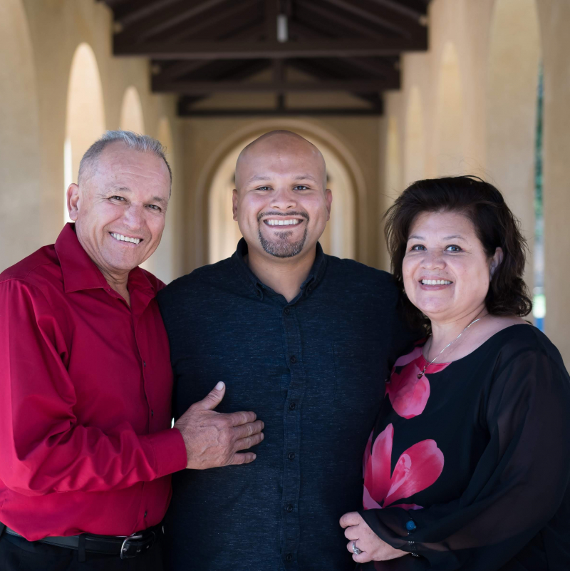 Photo of Sergio Rosas with his parents
