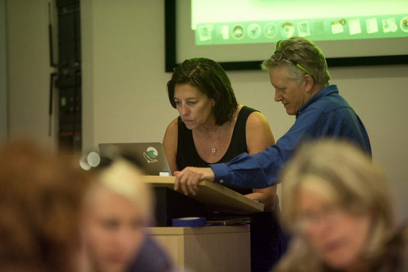 Professor Jo Boaler and YouCubed co-founder Cathy Williams with college faculty develop math skills.