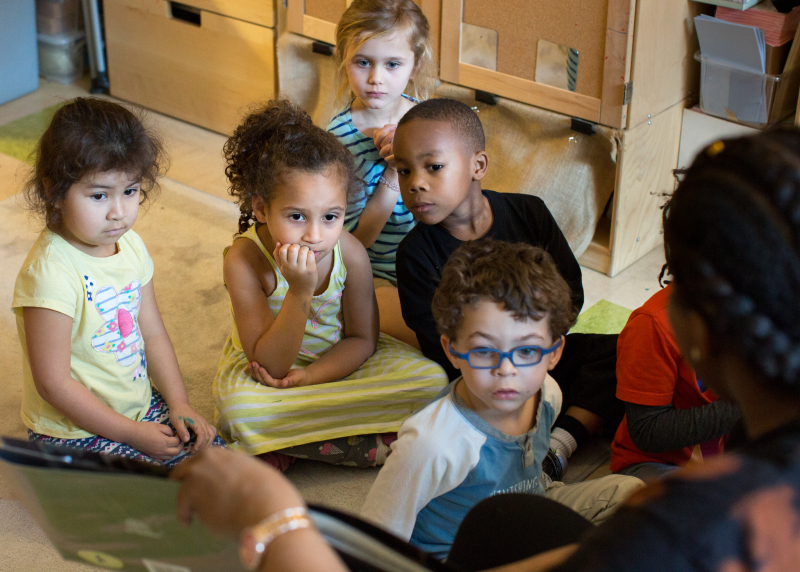 Preschool children in a classroom