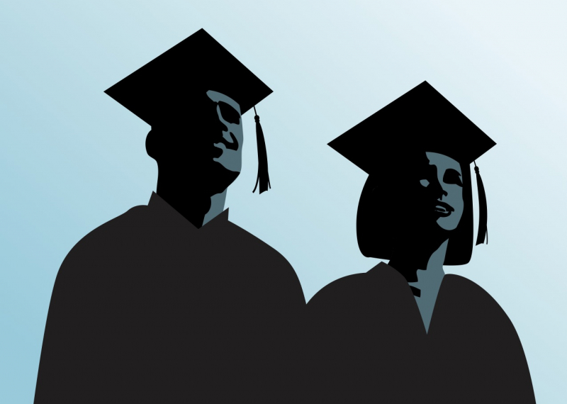 Pair of high school graduates looking to the future