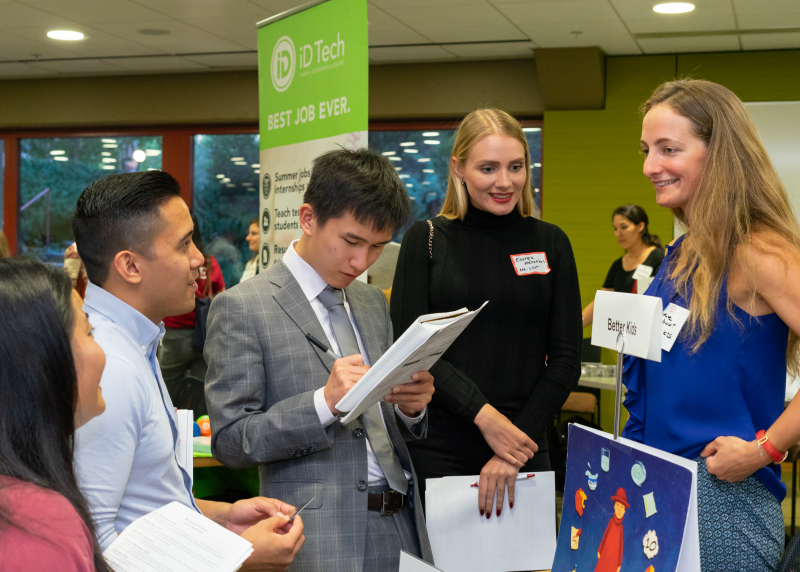 Stanford students at job fair