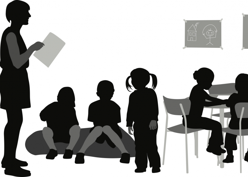 Illustration of preschool teacher and class