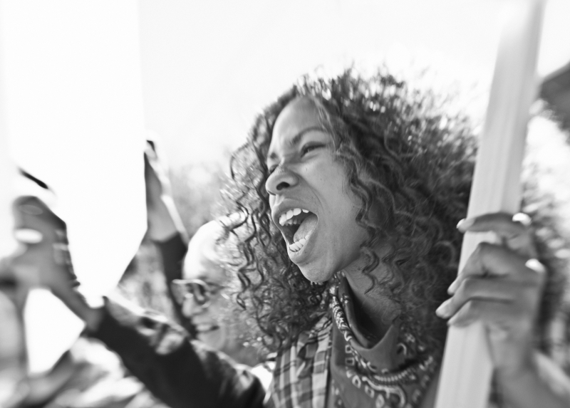 Black and white photo of protesters