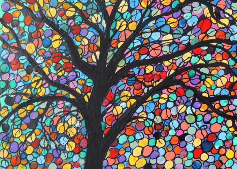 Image of a multicolored tree