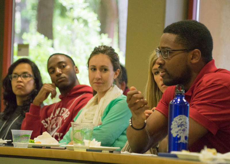 """Attendees at the GSE's second annual """"So, What Are You Working On?"""" (SWAYWO) conference organized for and by students."""