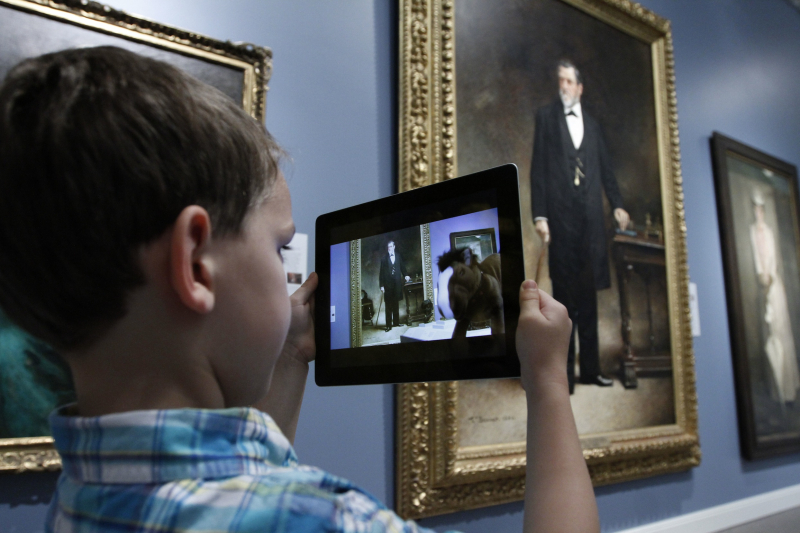 "The TandemArt app is ""kid tested"" at Stanford's Cantor Arts Center (Photo by Paul Sakuma)"