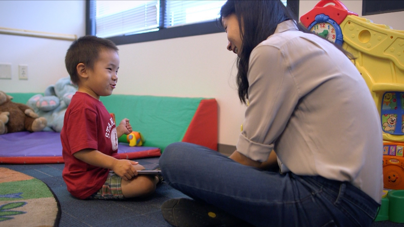 Stanford GSE student Karen Wang developed an app to help autistic children. (Kurt Hickman / Stanford News Service)