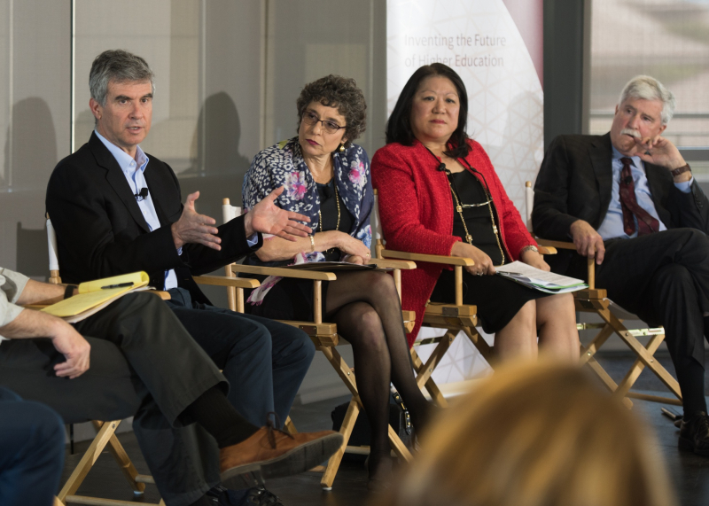 Dan Schwartz, Annalee Saxenian, Ellen Junn and Brian Murphy on the learning panel at Stanford. (Photo: Steve Castillo)