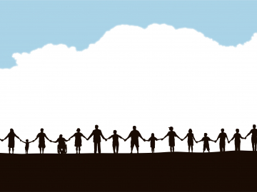 Image of community members holding hands in a line