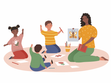 Illustration of a black teacher with students in a circle
