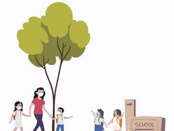 Illustration of kids walking to school