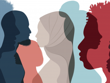 Illustration of silhouette of multiethnic adults