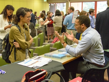 Students met with employers at the 2015 spring Stanford Graduate School of Education career fair
