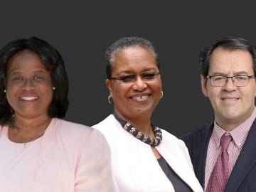 Group photo of awardees: Kimberley Gordon Biddle, Joyce E. King, and Bernardo H. Naranjo