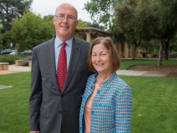 Stanford alumni Ken Olivier and Angela Nomellini are funding a new educational technology initiative at Stanford. (Photo: Steve Castillo)