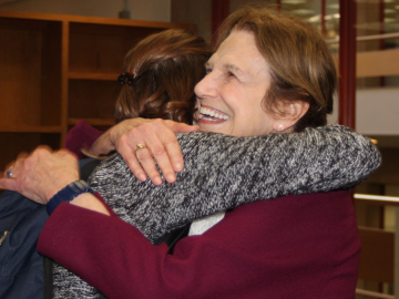 Judy Avery is thanked by a STEP student. (Photo: Marc Franklin)