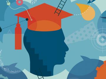 illustration of a graduating student