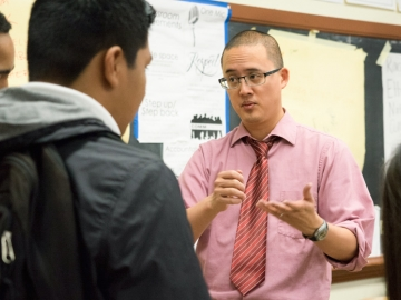 David Ko explains an assignment to students in his ethnic studies class at Washington High School in San Francisco. A Stanford study finds academic gains after taking the class. (Photo: Marc Franklin)