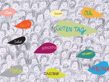 """illustration of """"hello"""" in many languages"""