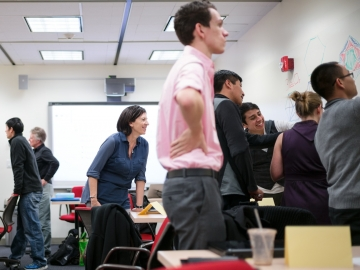 Jo Boaler observes her students in the Stanford Teacher Education Program. Her new book is Mathematical Mindsets. (Photo: Aaron Kehoe)