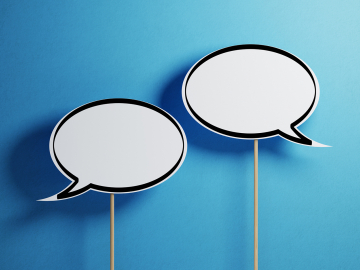 empty speech bubbles on a blue background