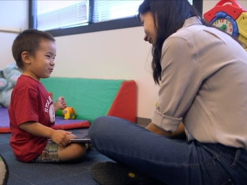 Stanford GSE student Karen Wang developed an app to help autistic children. (Kurt Hickman / Stanford News Service)
