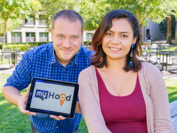 """Fabio Campos and Leiny Garcia created """"MyHood"""" to engage high school students in their communities. (Photo: Marc Franklin)"""