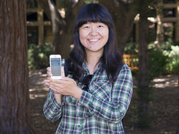 "Mingming Jiang developed a social mobile application for her LDT project called ""Releaf"" that addresses student wellness. (Photo: Marc Franklin)"