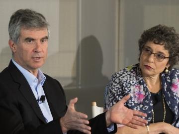 Dan Schwartz, Annalee Saxenian, Ellen Junn and Brian Murphy on the learning panel at Stanford. (Photo: Steve Castillo)