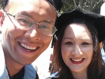 Peng Wu, left, with Professor Christine Min Wotipka.