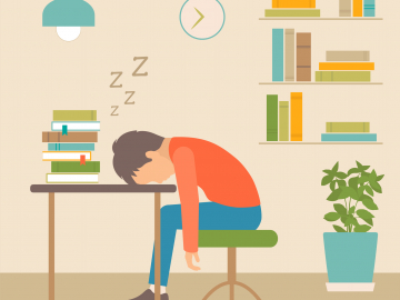 illustration of child asleep at his desk