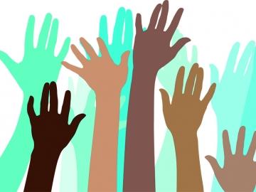 drawings of raised hands