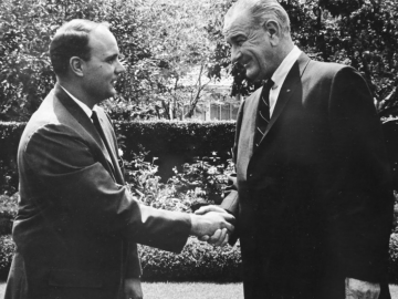 Photo of Michael Kirst and Lyndon B. Johnson