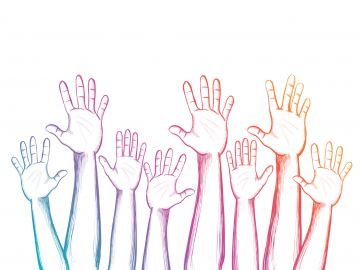 illustration of raised hands