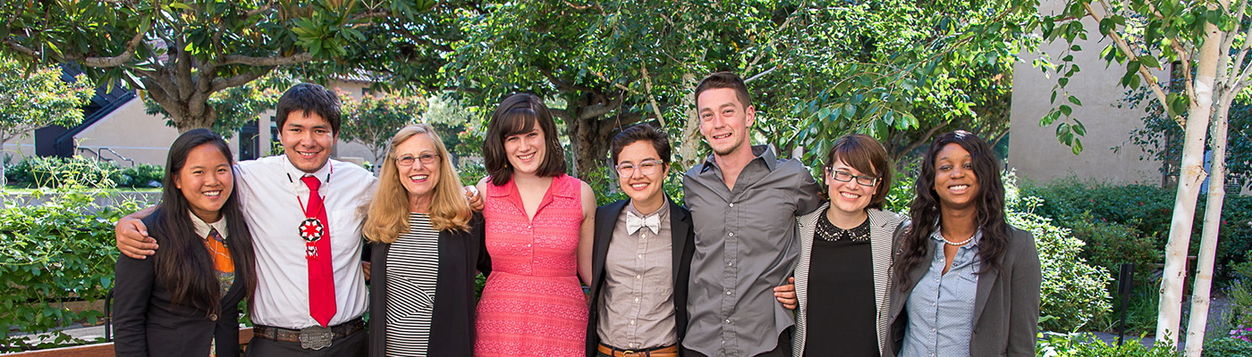 Photo of undergraduate students with Deborah Stipek